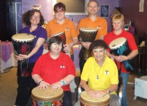 Tom with some of his drumming friends